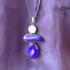 💜Agate slice Baroque pearl and 925 silver chain
